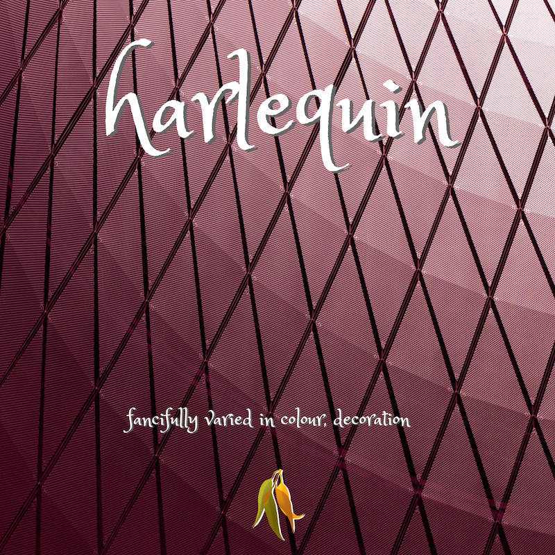 beautiful words harlequin - fancifully varied in colour, decoration