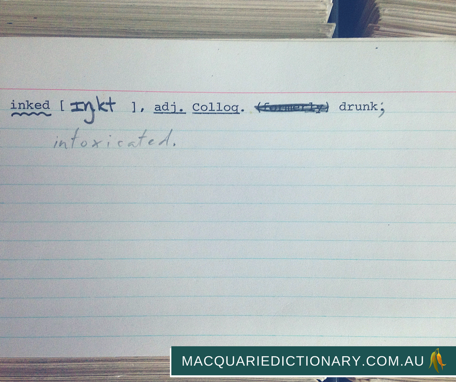 macquarie dictionary card catalogue inked
