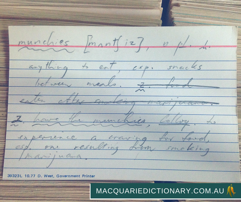 macquarie dictionary card catalogue munchies