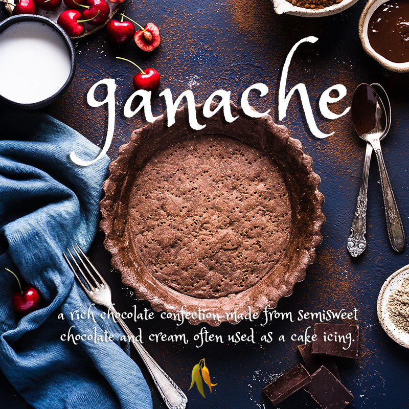 ganache - a rich chocolate confection made from semisweet chocolate and cream, often used as a cake icing.
