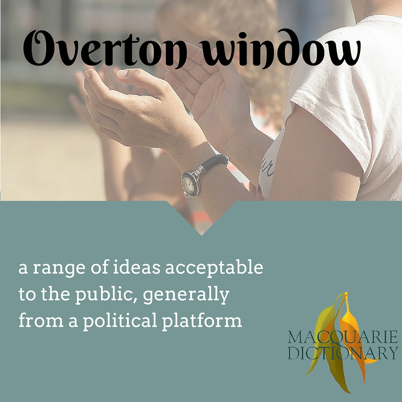 overton window a range of ideas acceptable to the public, generally from a political platform