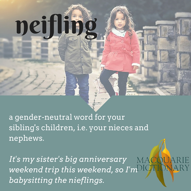a gender-neutral word for your sibling's children, i.e. your nieces and nephews.  It's my sister's big anniversary weekend trip this weekend, so I'm babysitting the nieflings.