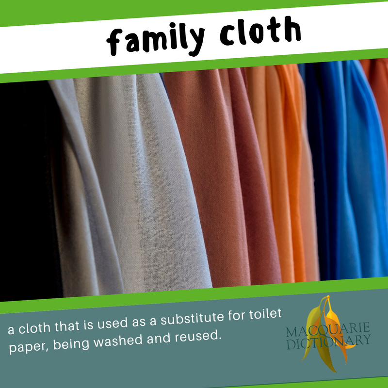 Macquarie Dictionary new words - family cloth - reusable toilet paper made of cloth that is used and washed to be used again, for all members of a family