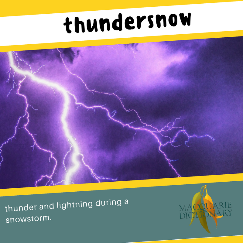 Macquarie Dictionary new words - thundersnow - thunder and lightning during a snowstorm