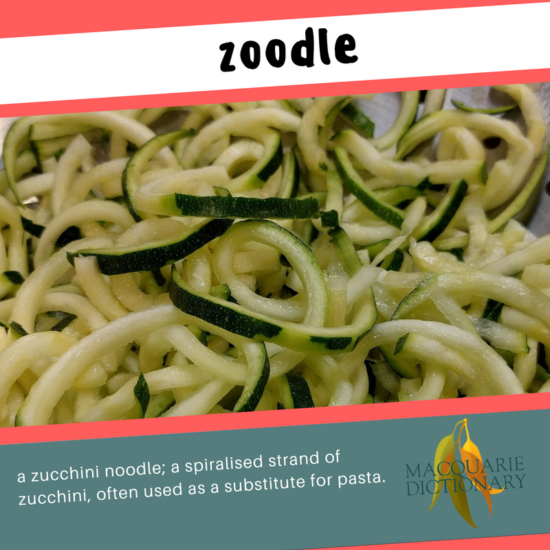 Macquarie Dictionary new words zoodle a zucchini noodle -- a spiralised strand of zucchini, often used as a substitute for pasta