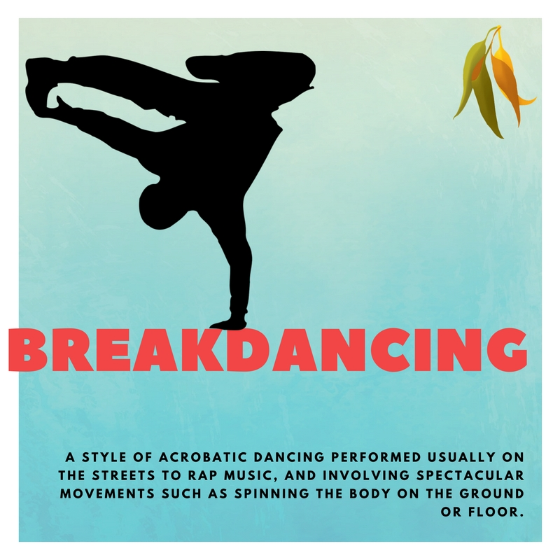 breakdancing A STYLE OF ACROBATIC DANCING PERFORMED USUALLY ON THE STREETS TO RAP MUSIC, AND INVOLVING SPECTACULAR MOVEMENTS SUCH AS SPINNING THE BODY ON THE GROUND OR FLOOR.