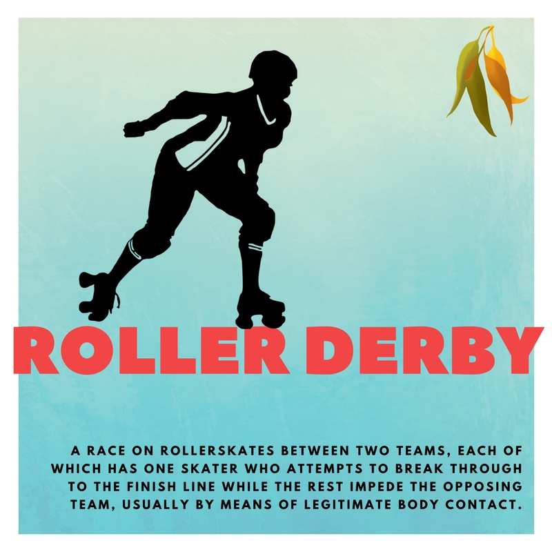 roller derby A RACE ON ROLLERSKATES BETWEEN TWO TEAMS, EACH OF WHICH HAS ONE SKATER WHO ATTEMPTS TO BREAK THROUGH TO THE FINISH LINE WHILE THE REST IMPEDE THE OPPOSING TEAM, USUALLY BY MEANS OF LEGITIMATE BODY CONTACT.